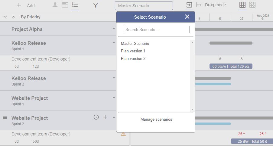 Select scenario