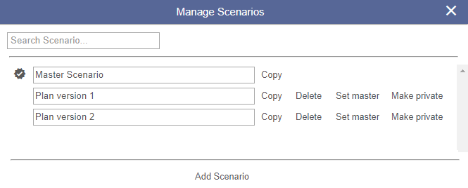 Manage scenarios