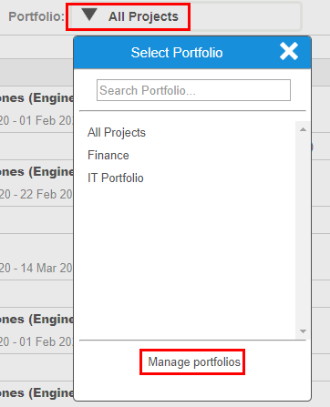 Manage portfolio