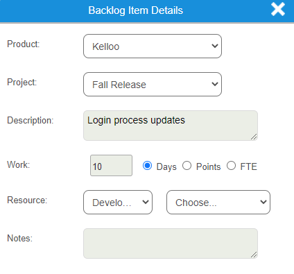 Update product backlog