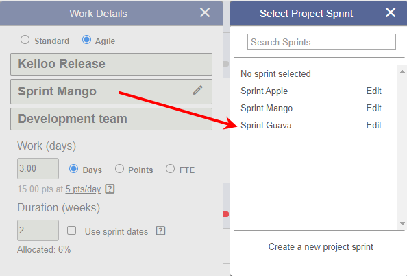 move work to next sprint