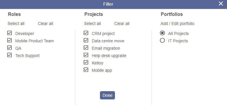 Resource plan filter